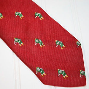 CAPE COD Red Santa Playing Golf Holiday Neck Tie
